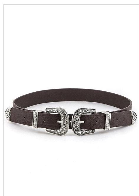 Double Buckle Skinny Belt - Brown
