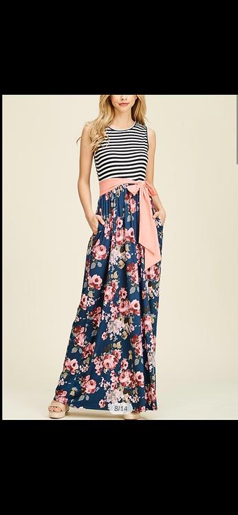 Navy Stripe Floral Maxi Dress