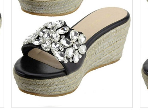 Black Rhinestone Slide Wedge
