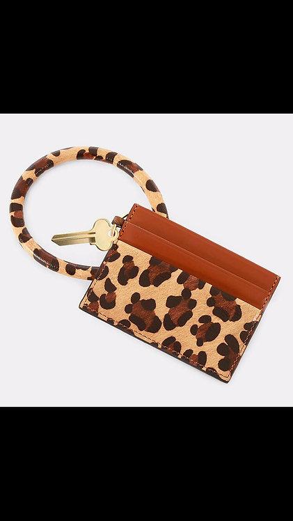 Key Ring Card Holder - Brown Leopard
