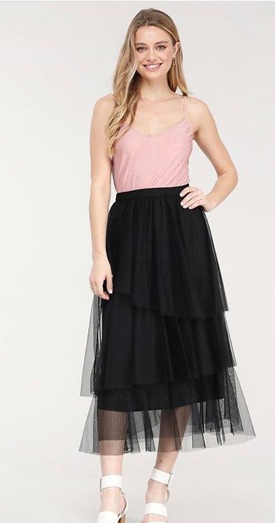 Black Tulle Layered Skirt