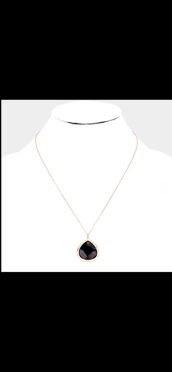 Stone Haloed Pendant - Black