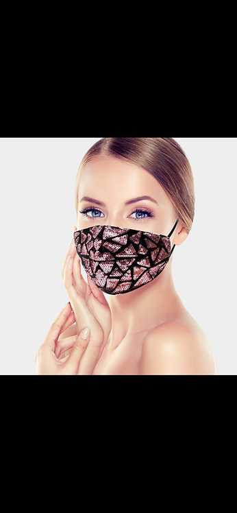 Triangle Sequin Mask - Pink