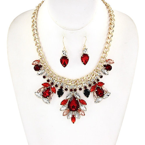 Red Holiday Statement Necklace