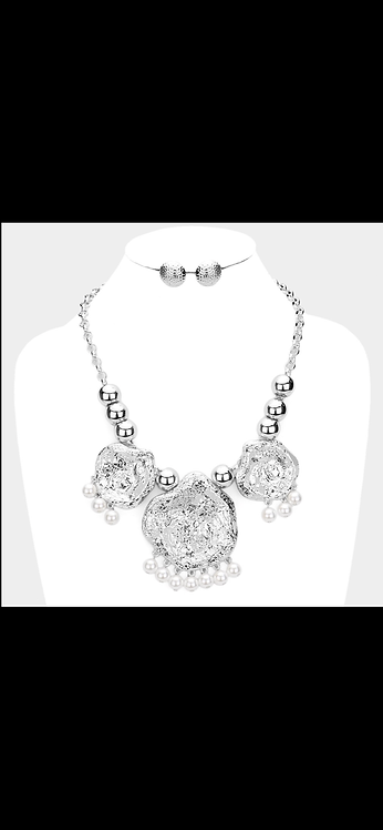 Silver Pearl Statement Necklace