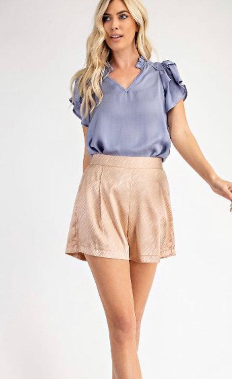 Satin Pattern Shorts - Khaki