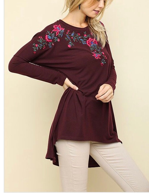 Maroon Floral Embroidered Tunic