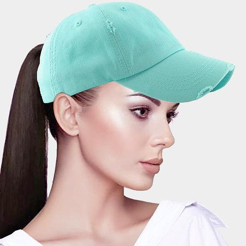 Ponytail Baseball Hat - Teal