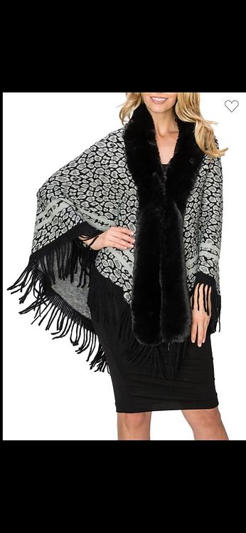 Faux Fur Leopard Poncho - Assorted