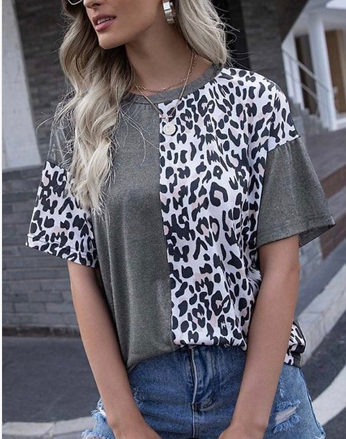 Leopard Colorblock Short Sleeve