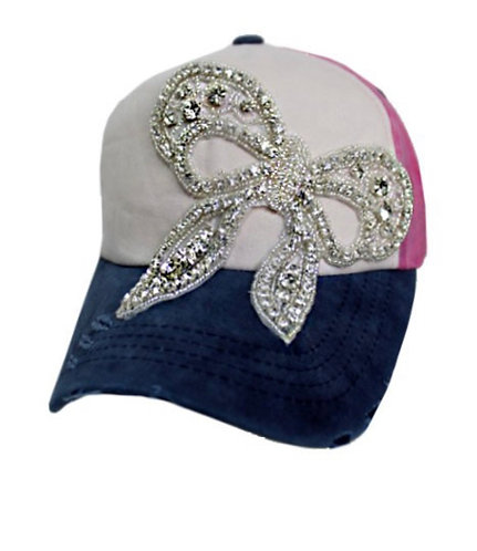 Bling Bow Hat - Navy
