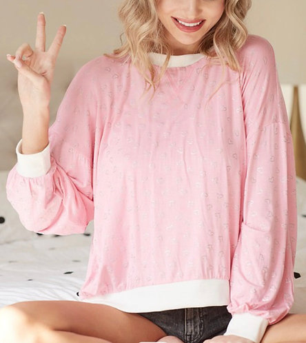 Pink Silver Heart Long Sleeve