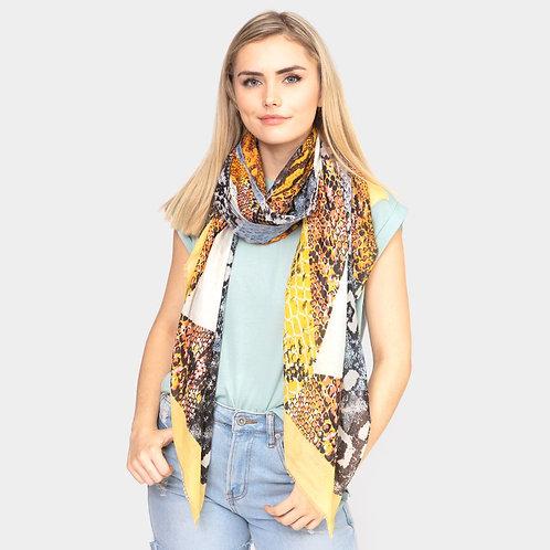 Snake Pattern Oblong Scarf - Yellow