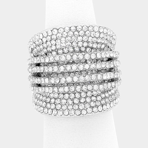 Large Cluster Bling Ring - Silver Stretch