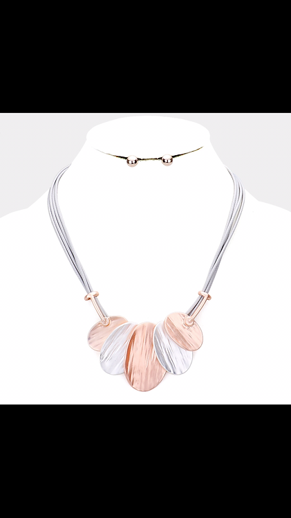Two Tone Metal Necklace - Rose Gold