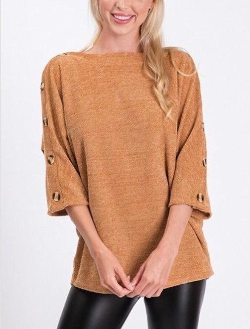 Camel Button Knit