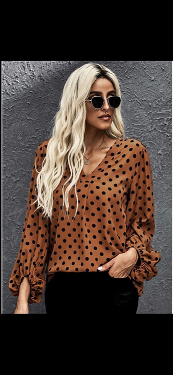 Caramel Dot Blouse