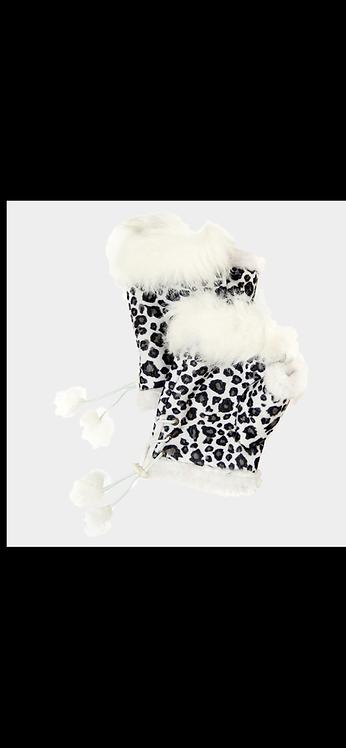 Leopard Fingerless Gloves - White