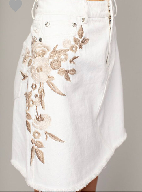 Embroidered White Denim Skirt
