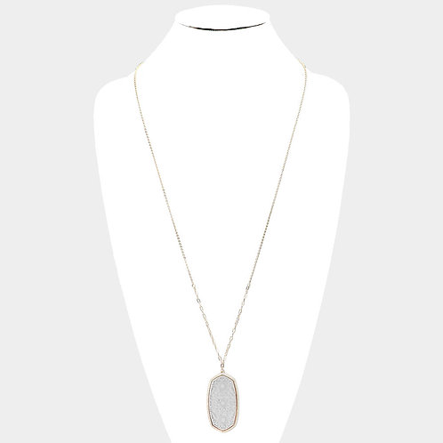 Filigree Metal Long Necklace - Silver