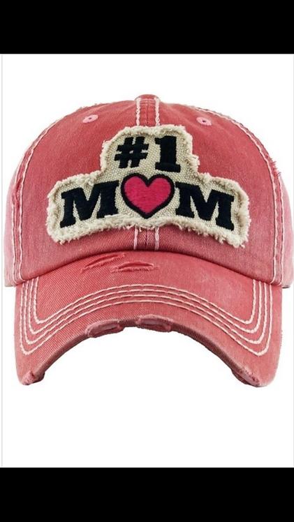 #1 Mom Baseball Hat - Fuchsia