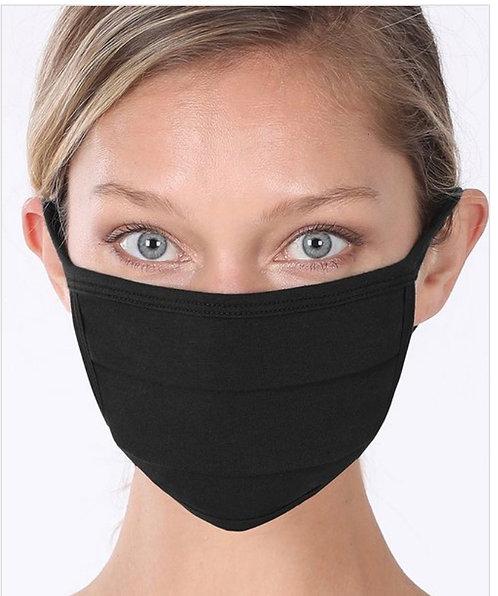 Black Solid Face Mask
