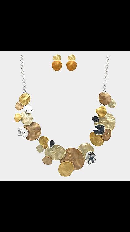 Yellow Metal Circle Necklace