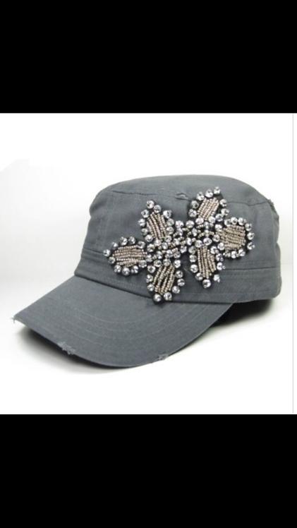 Bling Beaded Cadet Hat - Gray