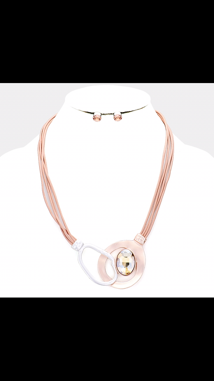 Oval Bling Metal Necklace - Rose Gold