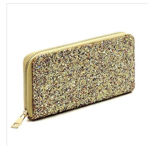 Metallic Glitter Wallet - AB Gold