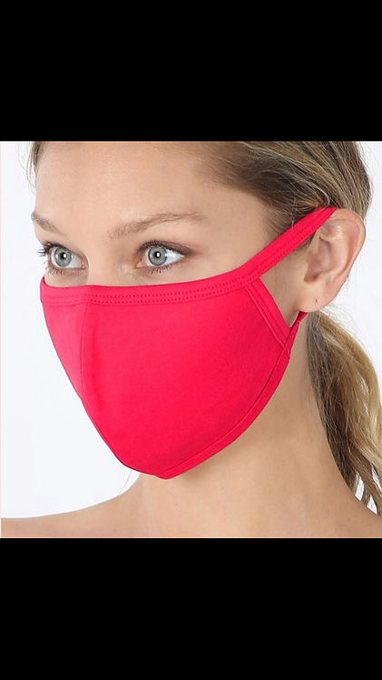 Solid Face Mask - Ruby