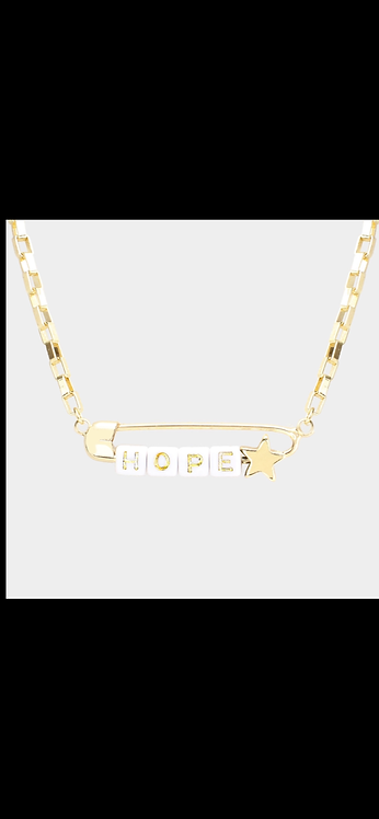 Hope Safety Pin Necklace - White