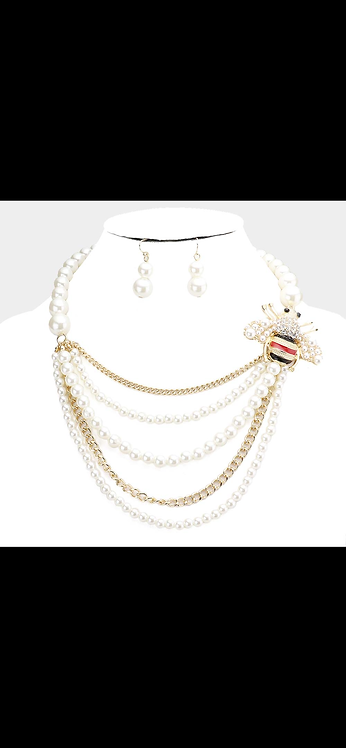 Layered Pearl Bee Necklace