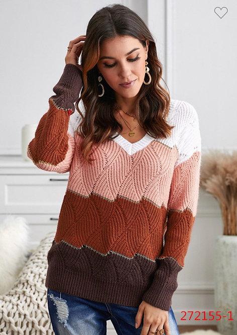 Colorblock Sweater - Mauve