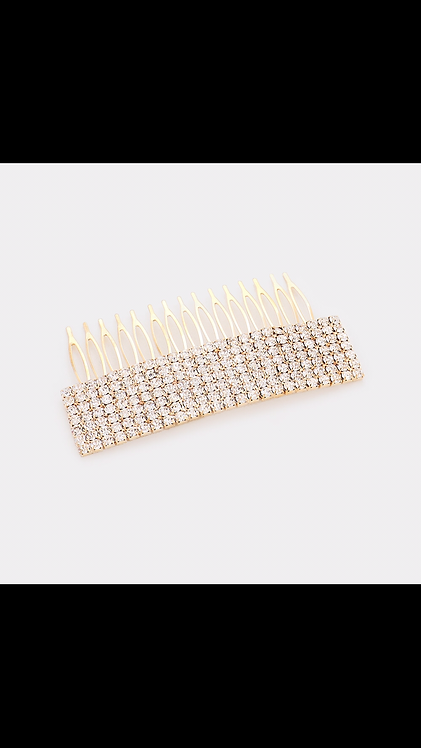 7 Row Rhinestone Comb - Gold