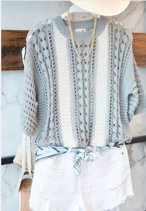 Short Sleeve Light Sweater - Gray