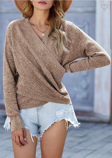 Khaki Faux Wrap Sweater