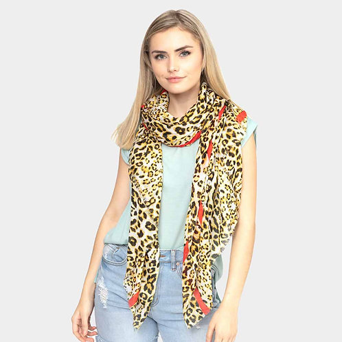 Leopard Oblong Scarf - Red