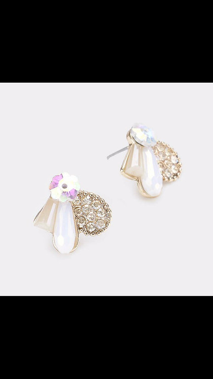 Colorful Stone Small Stud - White