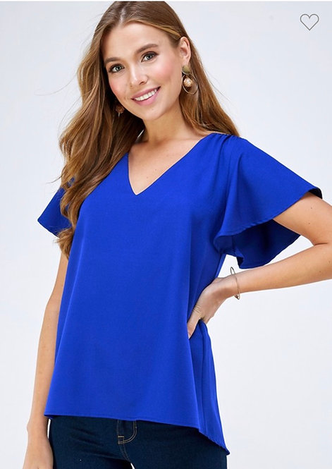Royal Blue Short Sleeve Blouse