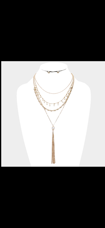 Layered Pearl Necklace - Gold
