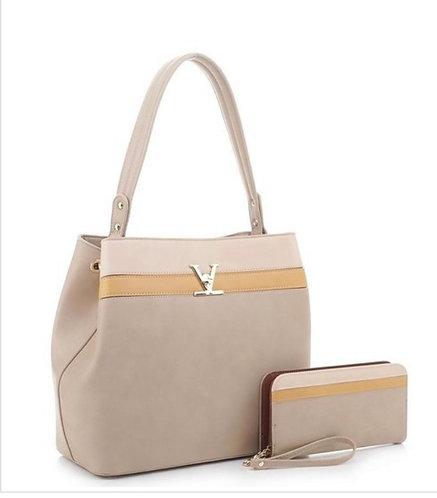 Colorblock Hobo Handbag Set - Taupe