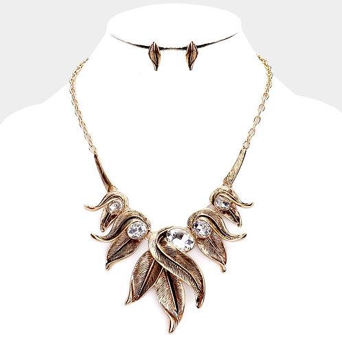 Leaf Rhinestone Necklace - Antique Gold