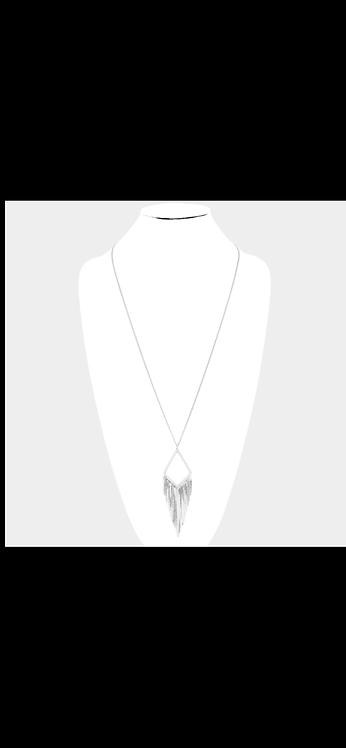 Metal Fringe Necklace - Silver