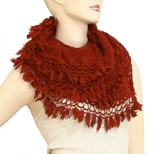 Feather Infinity Scarf - Rust