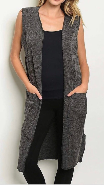 Gray Sweater Open Vest