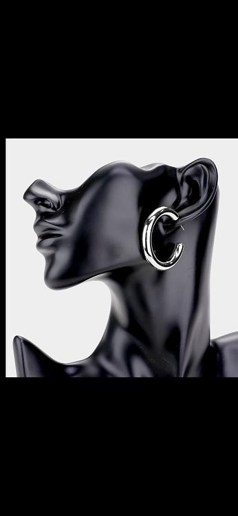Thin Metal Hoop - Silver