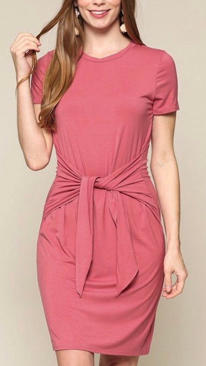 Coral Tie Front Dress