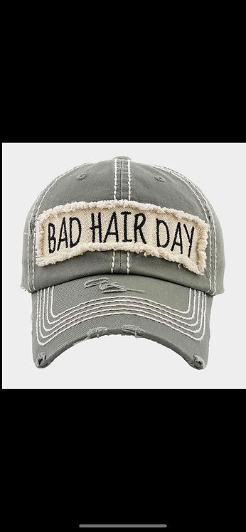 Bad Hair Day Baseball Hat - Gray