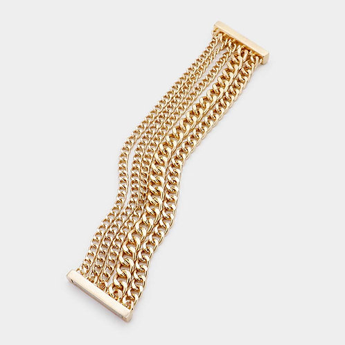 Layered Chain Magnetic Bracelet - Gold